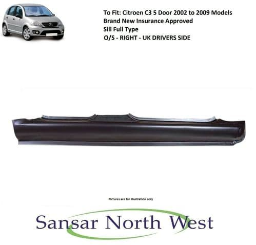 Citroen C3 5 Door - Drivers Side Sill Full Type - O/S RIGHT - 2002 to 2009